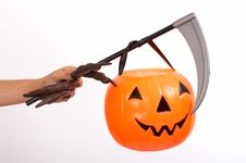 Free Scythe And Pumpkin Stock Image - 3446561