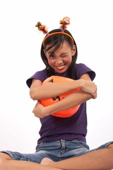 Free Hugging A Pumpkin Royalty Free Stock Photo - 3447595