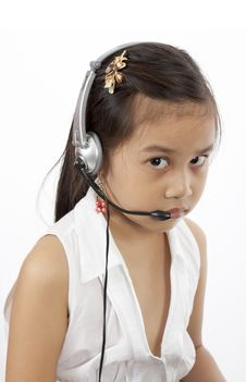 Girl With A Headset Stock Image