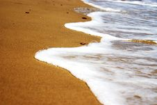 Wave On The Sea-sand Royalty Free Stock Photos