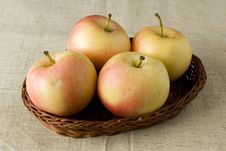 Free Apples In Wicker Tray Royalty Free Stock Image - 3449196
