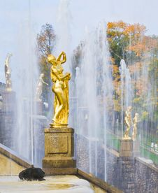 The Grand Cascade In Peterhof Royalty Free Stock Photo