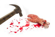 Bleeding Hand And Hammer Royalty Free Stock Images