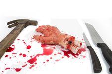 Bleeding Hand On The White Stock Photography