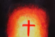 Beautiful Abstract Acrylic Painting With Holy Cross Stock Photos