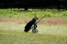 Free Golf Trolley. Royalty Free Stock Photography - 34411477