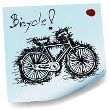 Free Sketch Drawing Of Bicycle On Sticky  Paper Vector Stock Photo - 34411570
