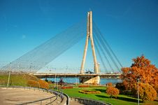 Cable-stayed Bridge In Riga Royalty Free Stock Photo