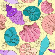 Free Vector Seamless Pattern With Colored Shells Royalty Free Stock Photo - 34419035