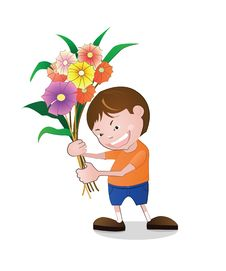 Free Boy Holding Flowers. Royalty Free Stock Photo - 34420395