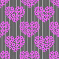 Free Seamless Pattern With Bright Pink Hearts On A Stri Royalty Free Stock Photos - 34461548