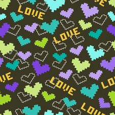 Free Seamless Pattern With Hearts And Love Royalty Free Stock Image - 34461496