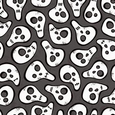 Free Seamless Pattern With Funny Skulls Stock Image - 34471081