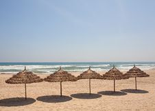Free Umbrellas Seaside Beach. Royalty Free Stock Photos - 34473348