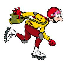 Rollerblader Man With Helmet Against White Background Royalty Free Stock Images