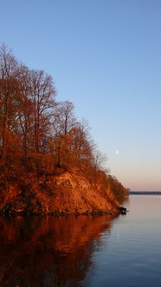 Free Autumn Lanscape With Moon Stock Photography - 3450002