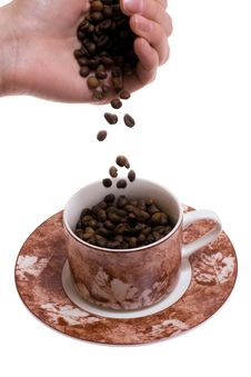 Falling Coffee Beans Royalty Free Stock Images