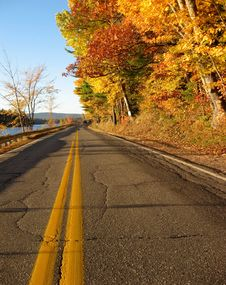 Free Back Road Maine, Autumn Colors Stock Photography - 3453442