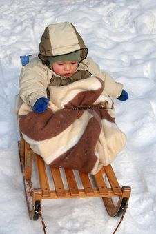 Free Young Boy On Sled Stock Images - 3455724