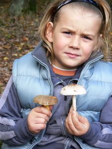 Small Boy With Mushrooms Royalty Free Stock Photo