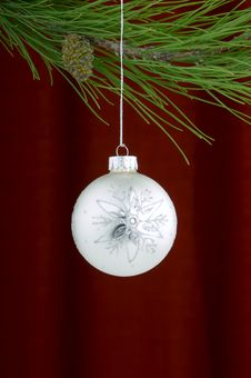 Free Silver Ornament On Burgundy Background Royalty Free Stock Photo - 3458885