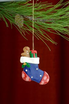Free Stocking Ornament On Burgundy Background Royalty Free Stock Images - 3458919