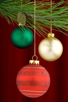 Free Multicolored Ornaments On Burgundy Background Stock Images - 3458934