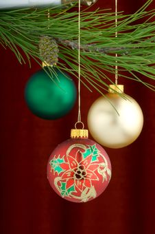 Free Multicolored Ornaments On Burgundy Background Royalty Free Stock Photos - 3458938