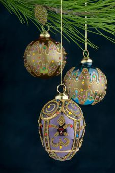 Free Multicolored Ornaments On Burgundy Background Royalty Free Stock Photos - 3459028