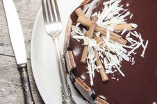 Free French Chocolate Cake Covered With Mirror Chocolate Icing. Macro Stock Photos - 34514683