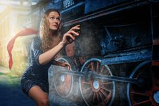 Free A Girl In A Hurry To Catch A Train Stock Photography - 34519712