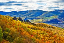 Free The Autumn Forest And Mountains Stock Photography - 34521132