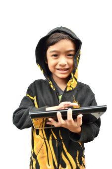 Little Boy Portrait With Tablet Fire Jacket Stock Images