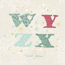 Cute Floral Alphabet. Letters W, Y, Z, X Stock Photography