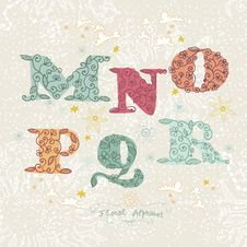 Cute Floral Alphabet. Letters M, N, O, P, Q, R Stock Images