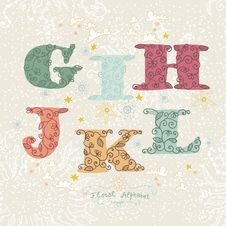 Cute Floral Alphabet. Letters G, I, H, J, K, L Royalty Free Stock Photos