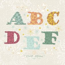 Cute Floral Alphabet. Letters A, B, C, D, F, E Royalty Free Stock Photography