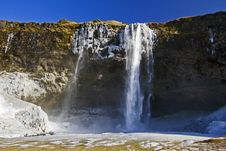 The Beautiful Splendor Of Frozen Seljalandsfoss Waterfall, Iceland Stock Images