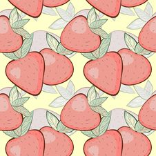 Seamless Pattern With Strawberries Stock Image
