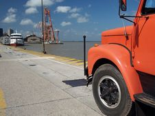 Truck In Port Royalty Free Stock Images
