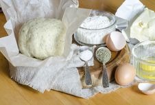 Ingredients For The Dough: Eggs, Flour, Butter, Salt Royalty Free Stock Photos