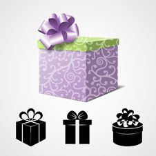 Free Gift Box  On White And Some Present Icons Stock Photography - 34550732