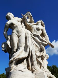 Sculpture At Vittorio Emanuele II Bridge, Rome, Italy Stock Photography