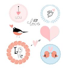 Set Of Emblems For Valentines Day Stock Images