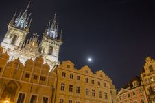Free Old Town Square In Prague Lit By The Moon Stock Photos - 34585123