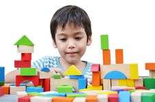 Free Little Boy Play Block Stock Photos - 34590173