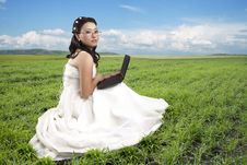 Free Girl In A Long White Dress Stock Photography - 34590952
