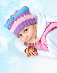 Free Little Girl Wearing A Scarf, Christmas, Winter, Frost Stock Images - 34595584