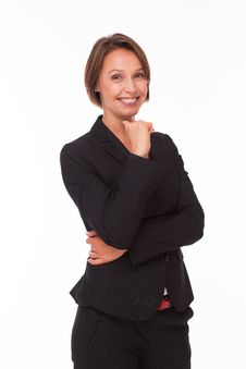 Free Business Woman Smiling On White Stock Photo - 34595730
