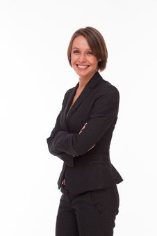 Free Business Woman In Suit On White Royalty Free Stock Photo - 34595755